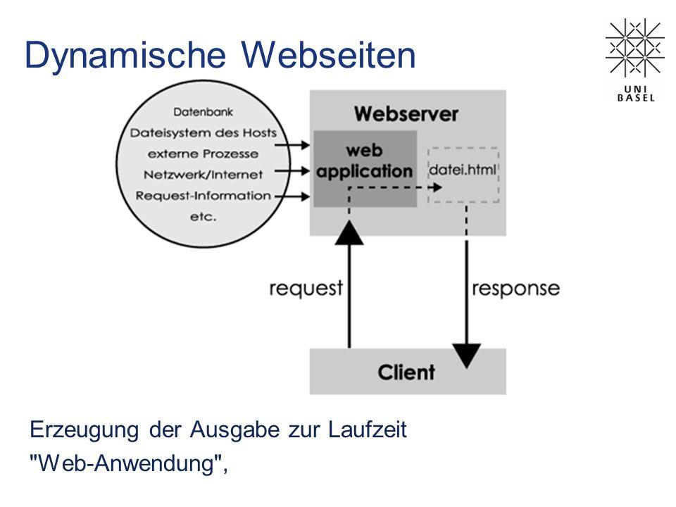 Dynamische Webseiten Erzeugung der Ausgabe zur Laufzeit