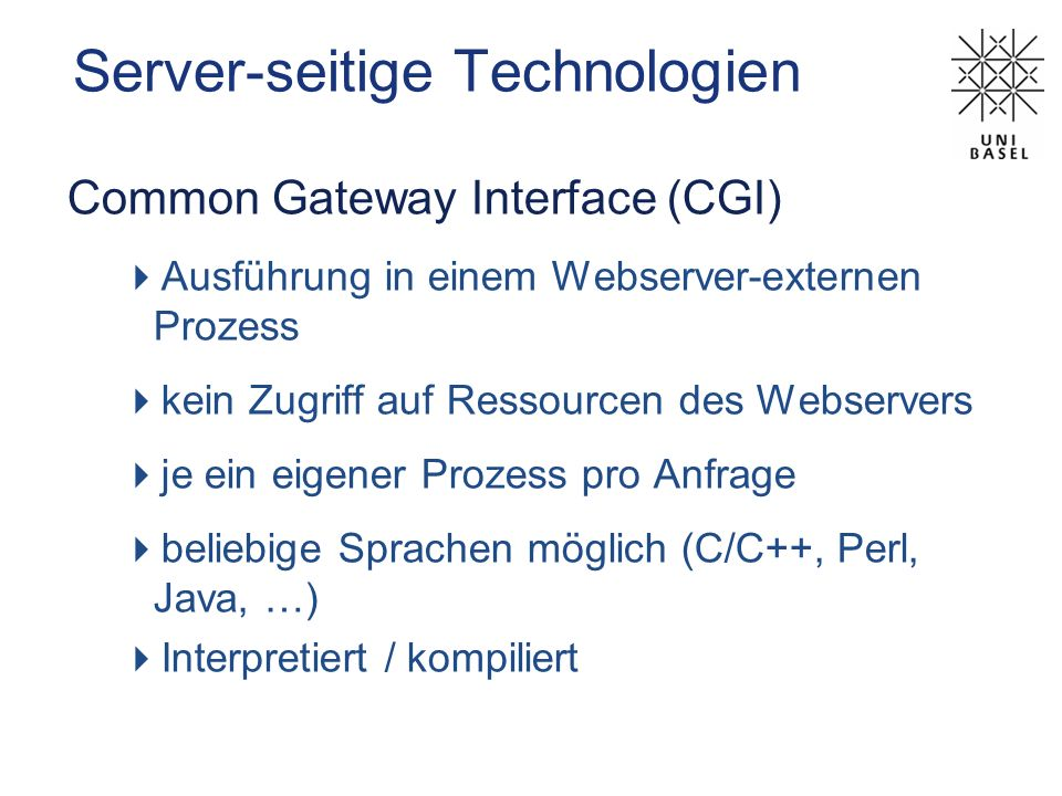 Server-seitige Technologien