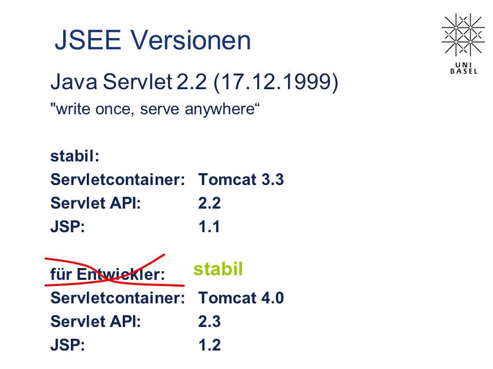 JSEE Versionen Java Servlet 2.2 (17.12.1999) stabil