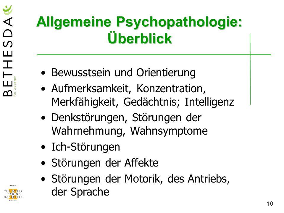 Allgemeine Psychopathologie: Überblick