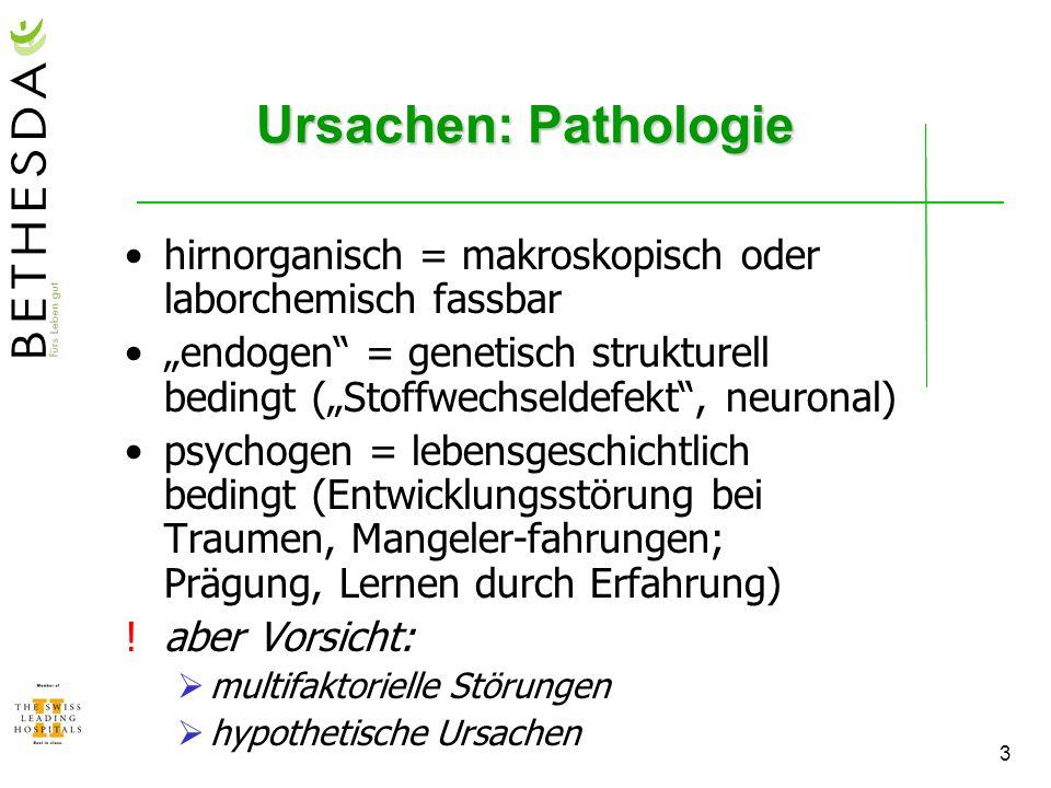 Ursachen: Pathologiehirnorganisch = makroskopisch oder laborchemisch fassbar.
