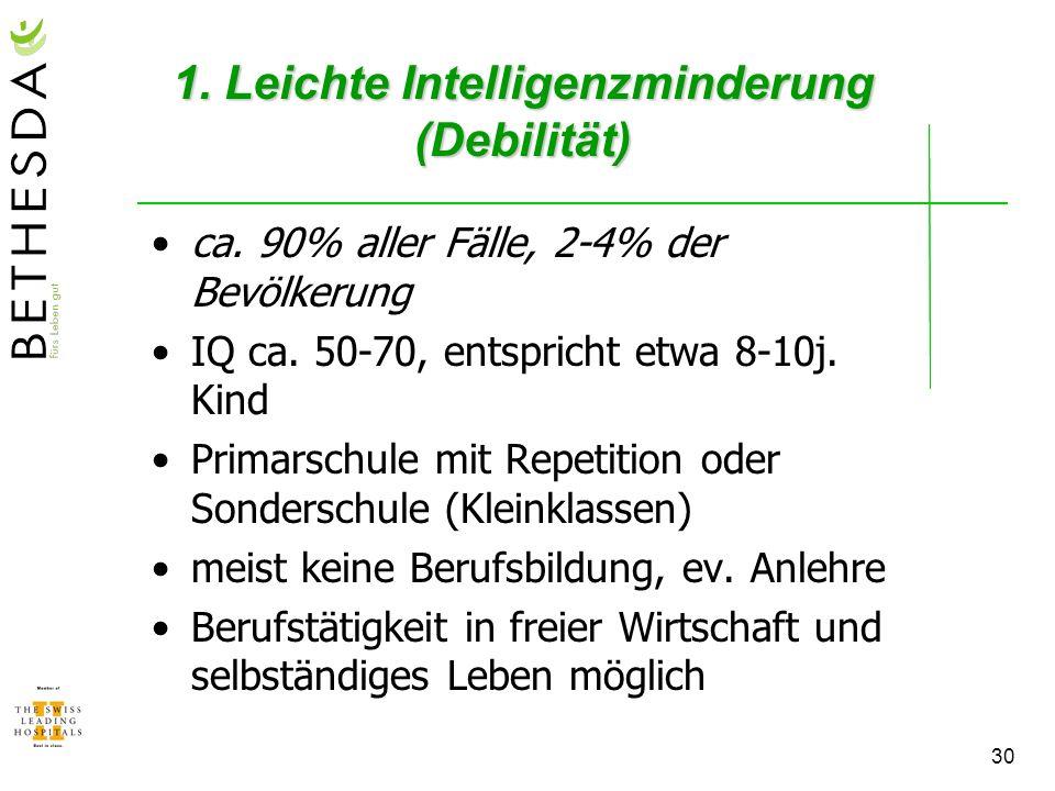 1. Leichte Intelligenzminderung (Debilität)