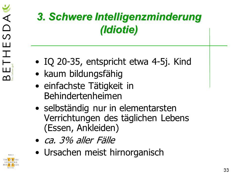3. Schwere Intelligenzminderung (Idiotie)