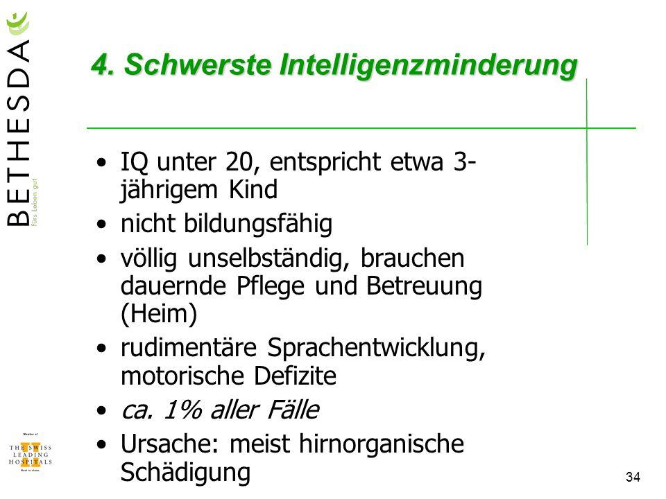 4. Schwerste Intelligenzminderung