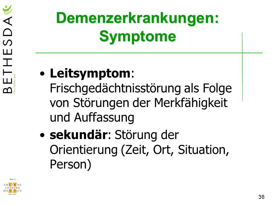 Demenzerkrankungen: Symptome