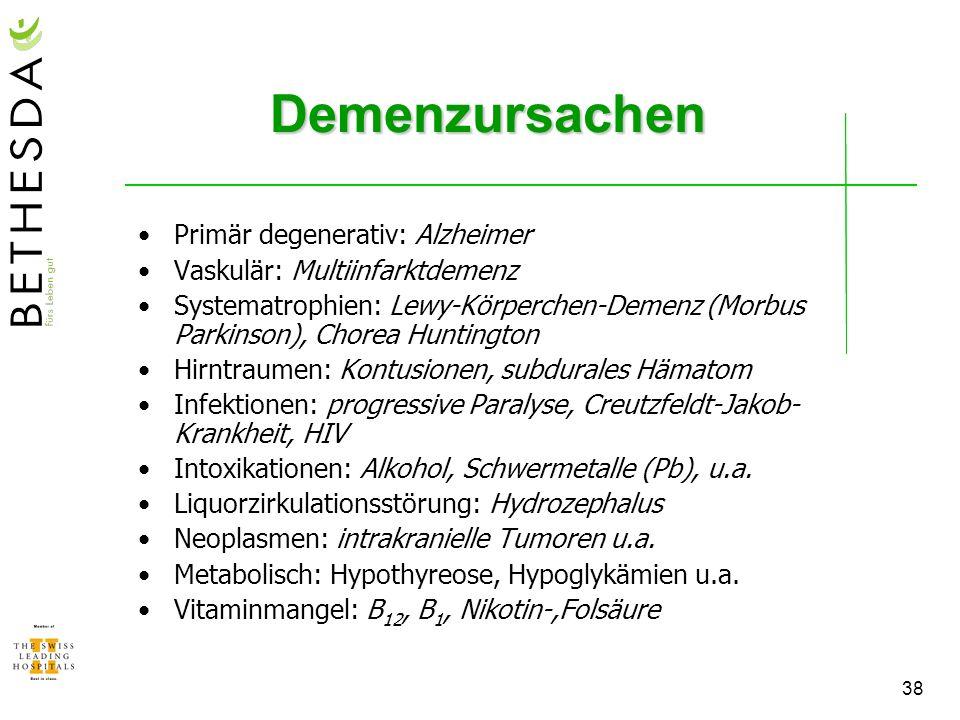 Demenzursachen Primär degenerativ: Alzheimer