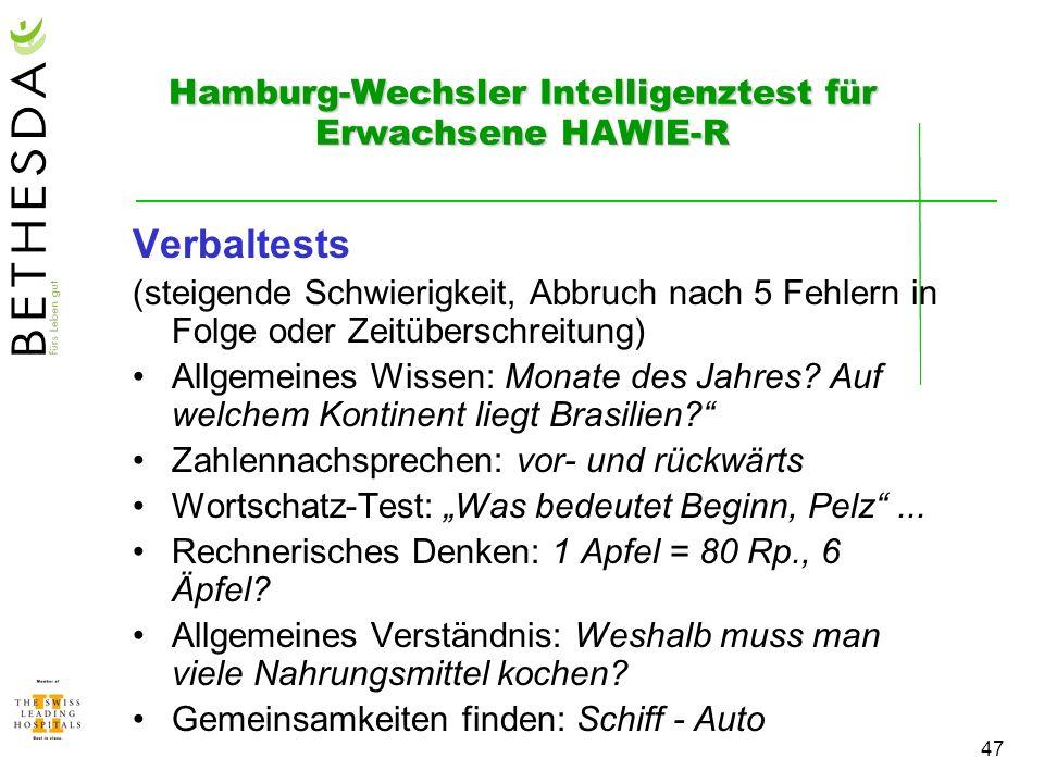 Hamburg-Wechsler Intelligenztest für Erwachsene HAWIE-R