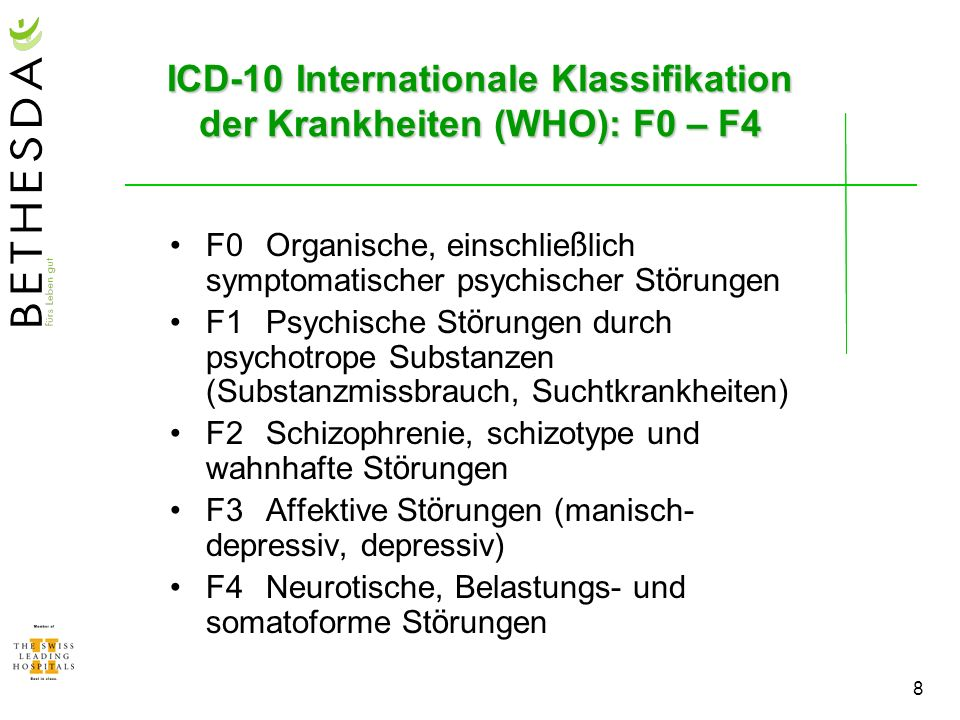ICD-10 Internationale Klassifikation der Krankheiten (WHO): F0 – F4
