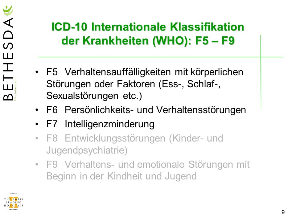 ICD-10 Internationale Klassifikation der Krankheiten (WHO): F5 – F9