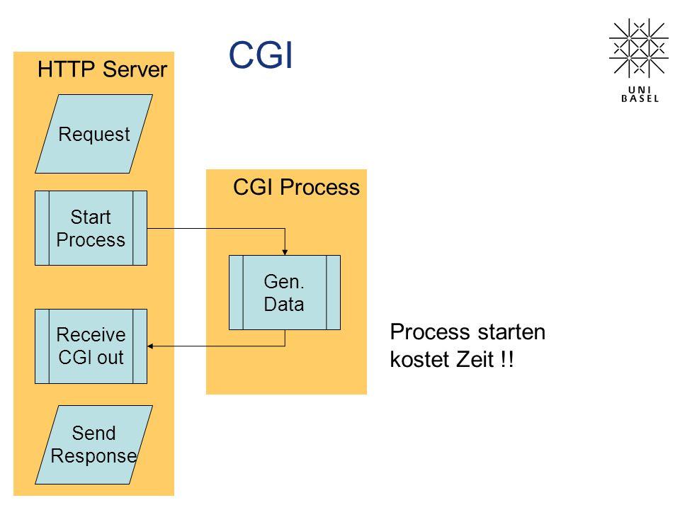 CGI HTTP Server CGI Process Process starten kostet Zeit !! Request