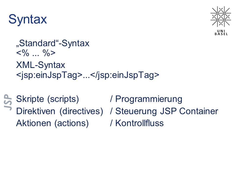 """Syntax JSP """"Standard -Syntax <% ... %>"""