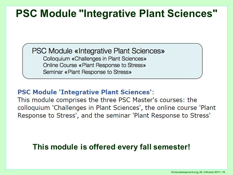 PSC Module Integrative Plant Sciences