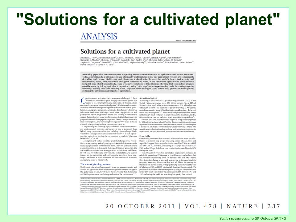 Solutions for a cultivated planet