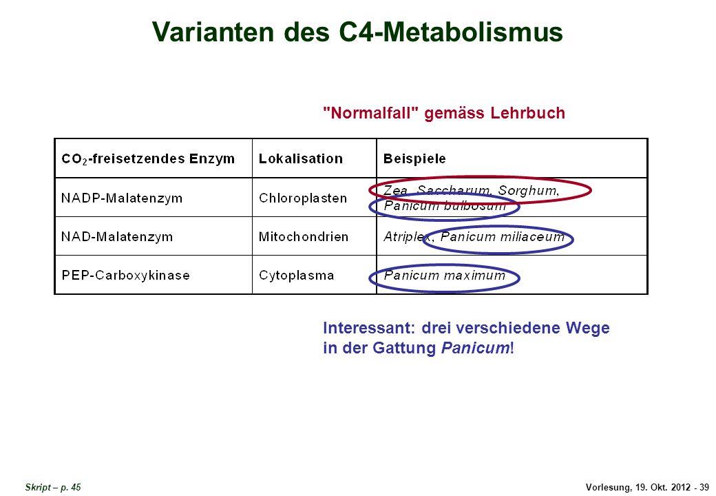 Varianten des C4-Metabolismus