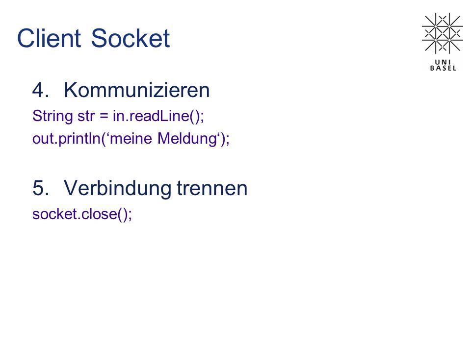Client Socket Kommunizieren Verbindung trennen