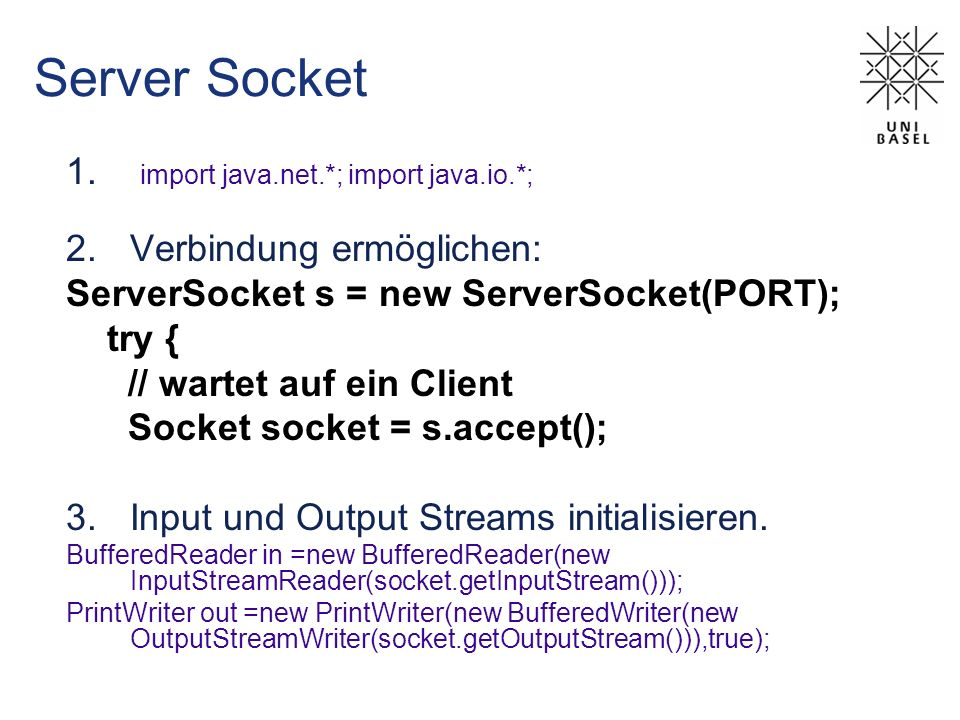 Server Socket import java.net.*; import java.io.*;