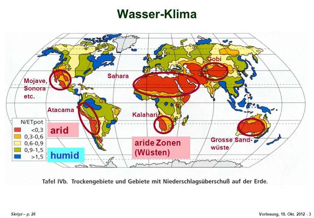 Wasser-Klima arid humid aride Zonen (Wüsten) Gobi Sahara