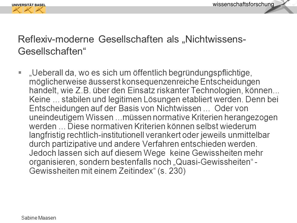 """Reflexiv-moderne Gesellschaften als """"Nichtwissens-Gesellschaften"""
