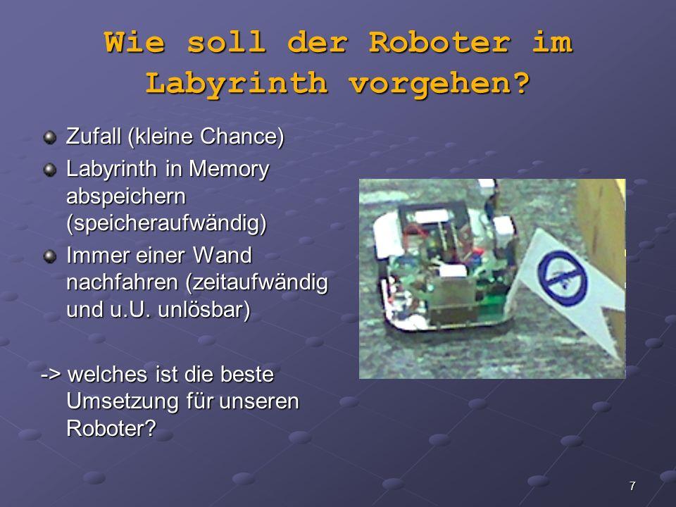 Wie soll der Roboter im Labyrinth vorgehen