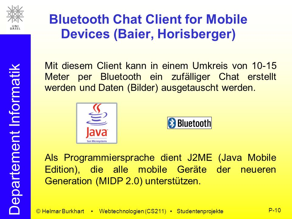 Bluetooth Chat Client for Mobile Devices (Baier, Horisberger)