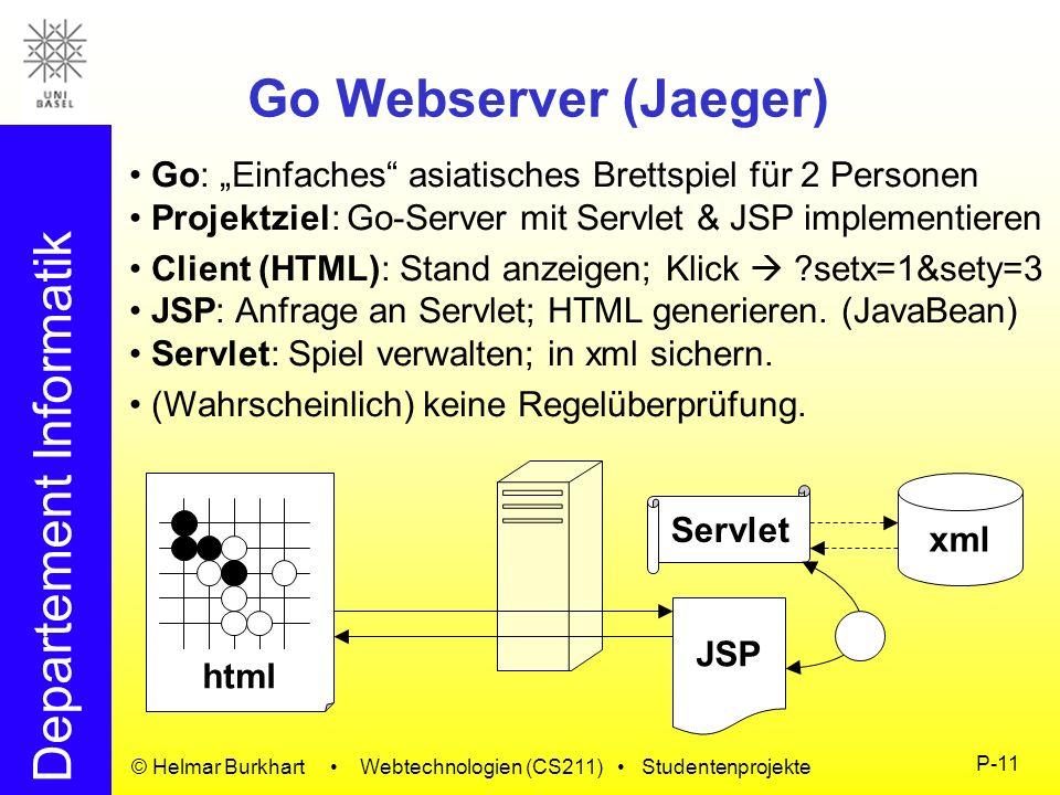 """Go Webserver (Jaeger)Go: """"Einfaches asiatisches Brettspiel für 2 Personen. Projektziel: Go-Server mit Servlet & JSP implementieren."""