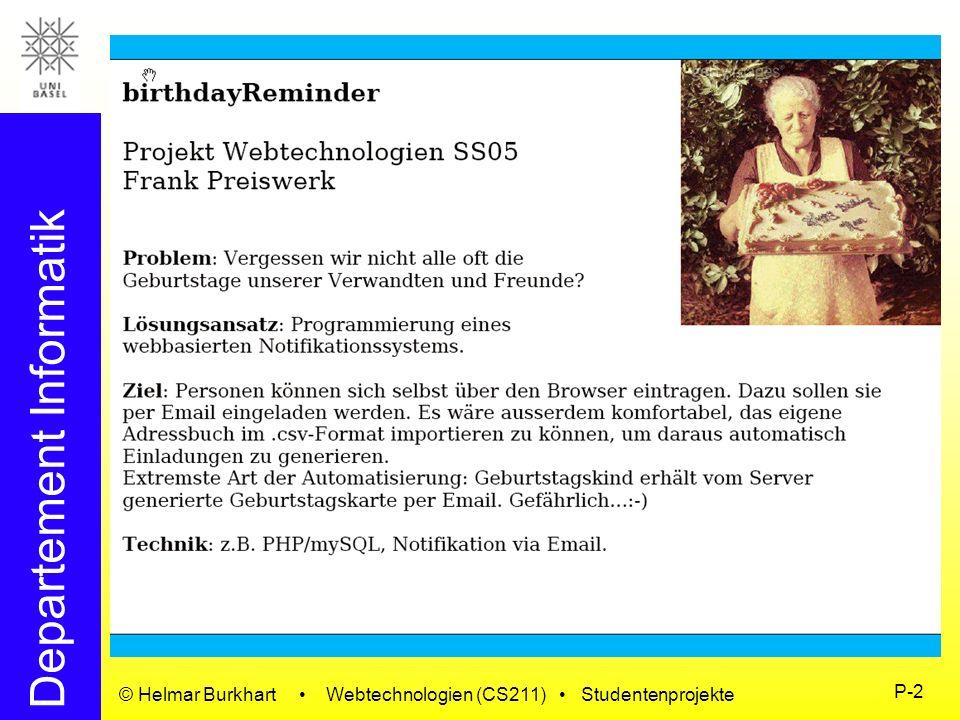 © Helmar Burkhart • Webtechnologien (CS211) • Studentenprojekte