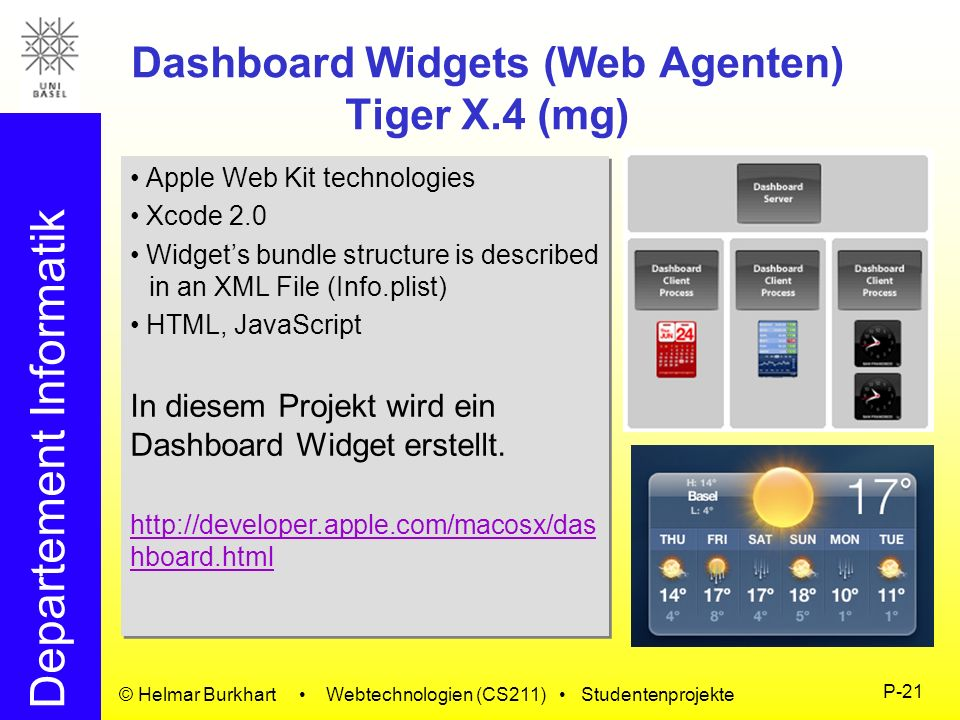 Dashboard Widgets (Web Agenten) Tiger X.4 (mg)