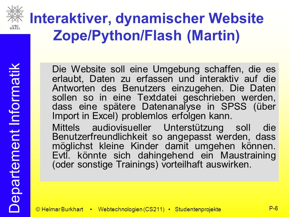 Interaktiver, dynamischer Website Zope/Python/Flash (Martin)