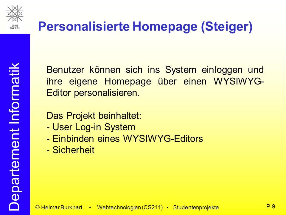 Personalisierte Homepage (Steiger)