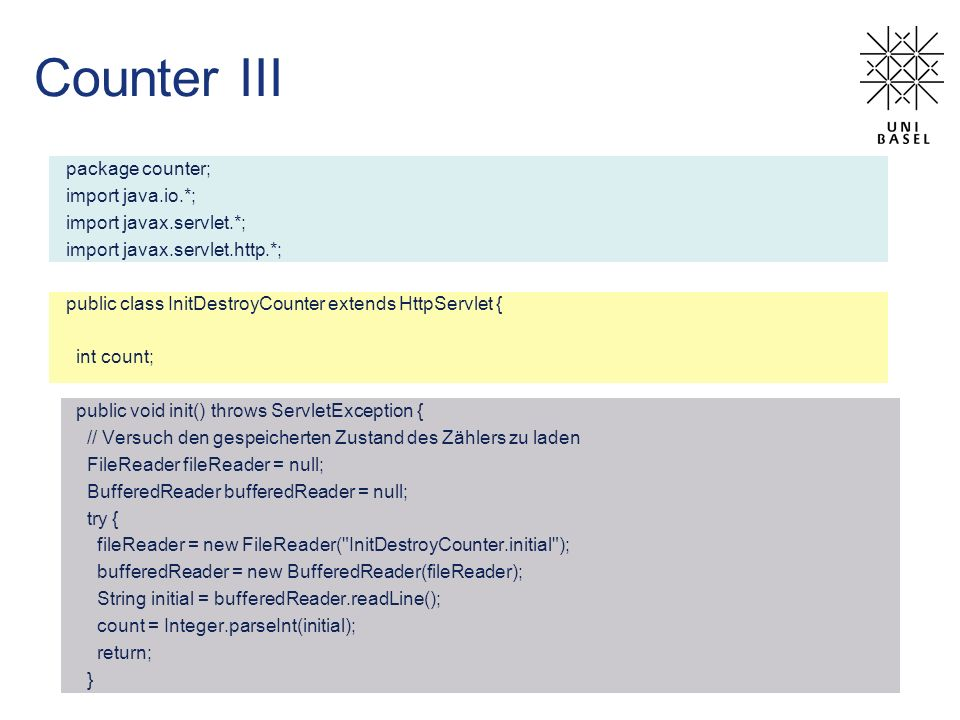 Counter III package counter; import java.io.*; import javax.servlet.*;