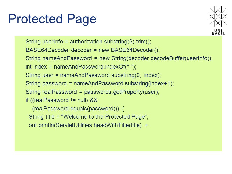 Protected Page String userInfo = authorization.substring(6).trim();