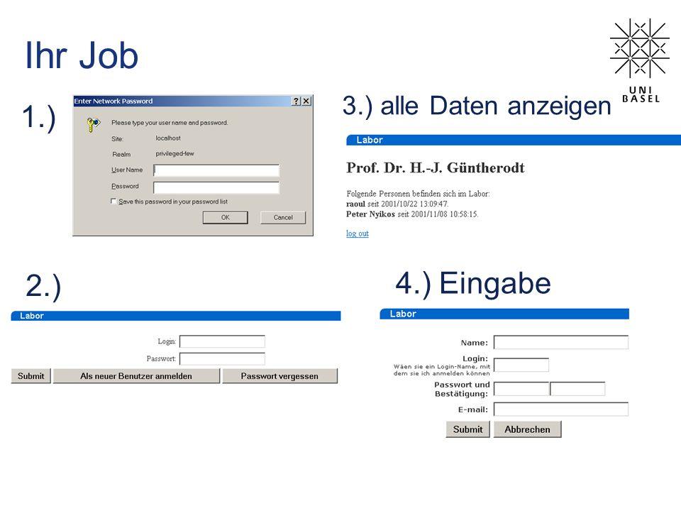 Ihr Job 1.) 3.) alle Daten anzeigen 2.) 4.) Eingabe