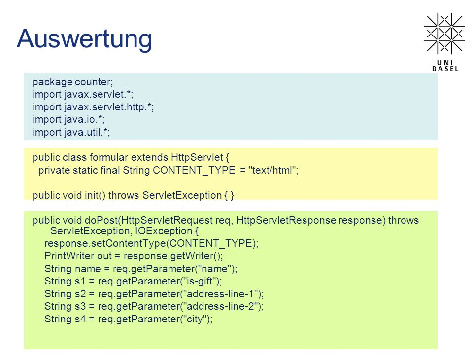 Auswertung package counter; import javax.servlet.*;