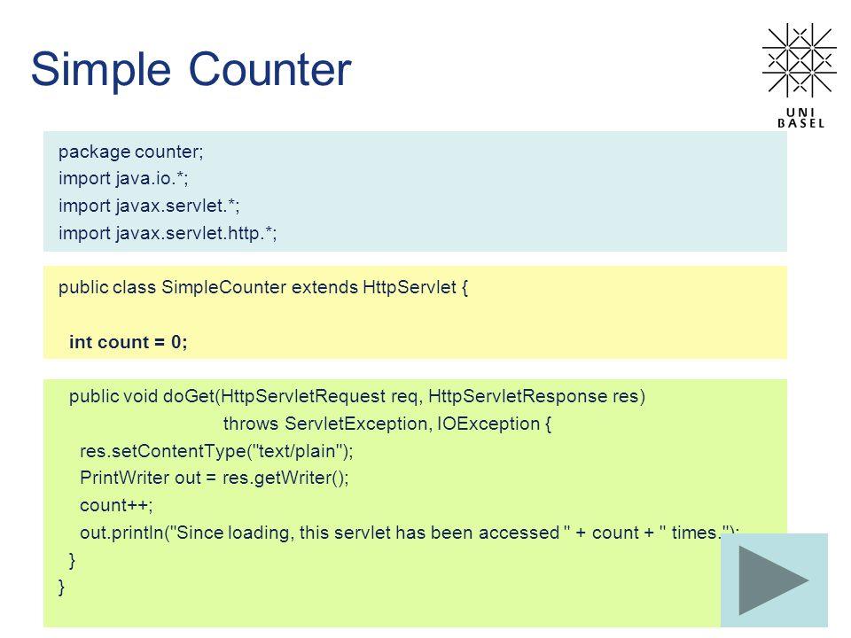 Simple Counter package counter; import java.io.*;