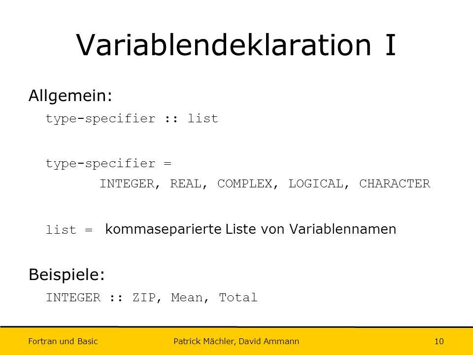 Variablendeklaration I