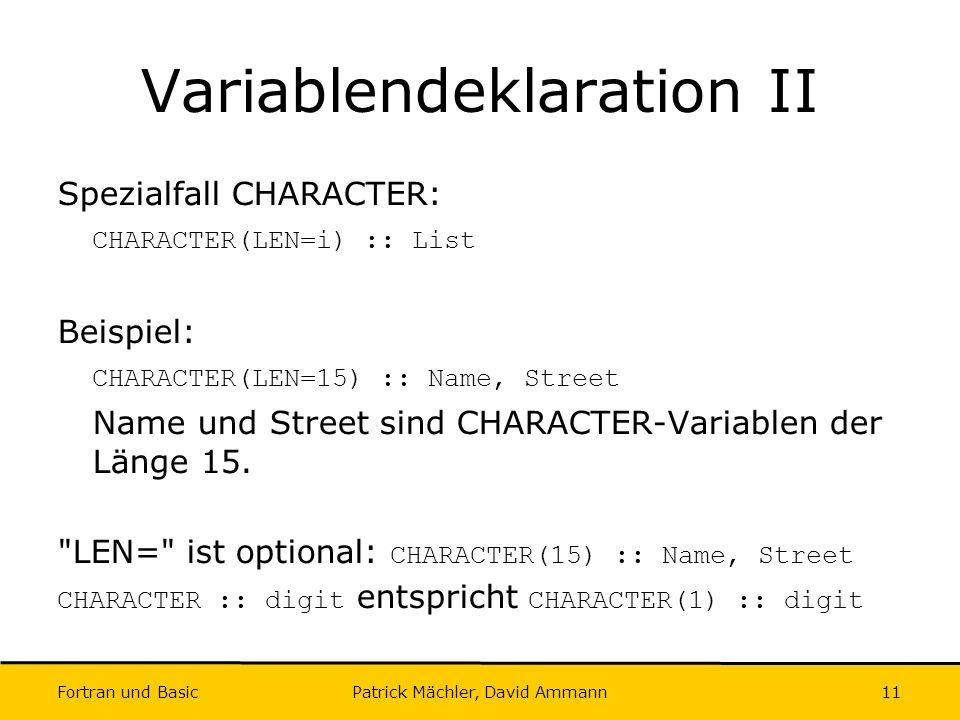 Variablendeklaration II