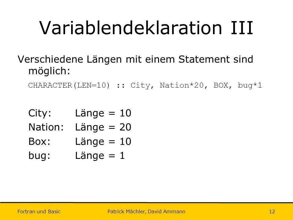 Variablendeklaration III