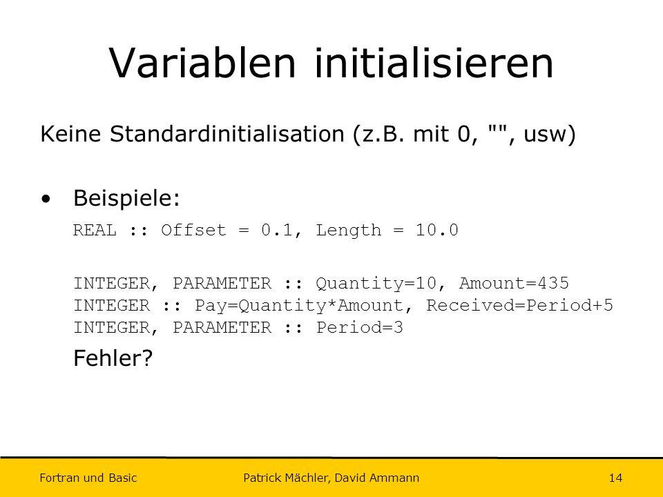 Variablen initialisieren
