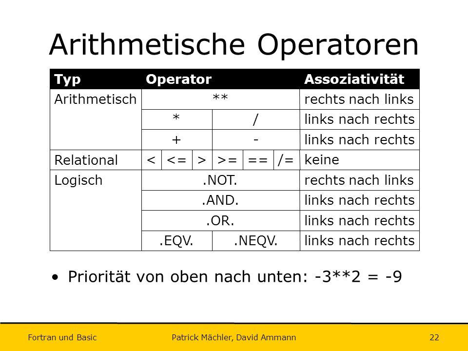 Arithmetische Operatoren