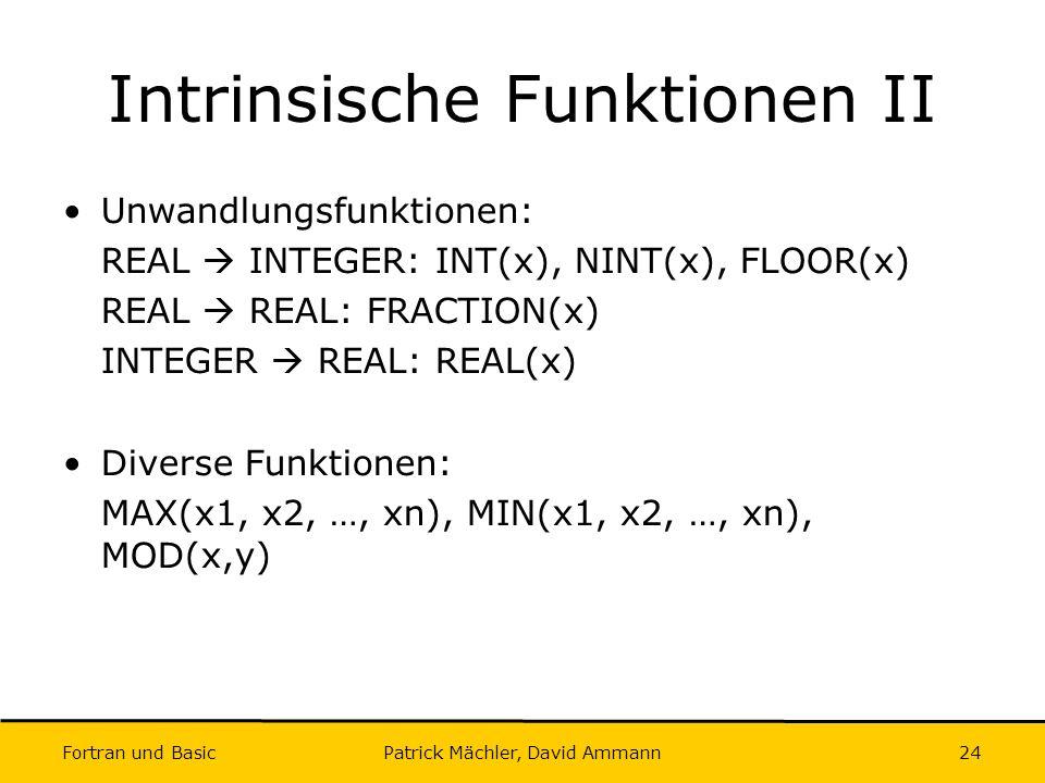 Intrinsische Funktionen II
