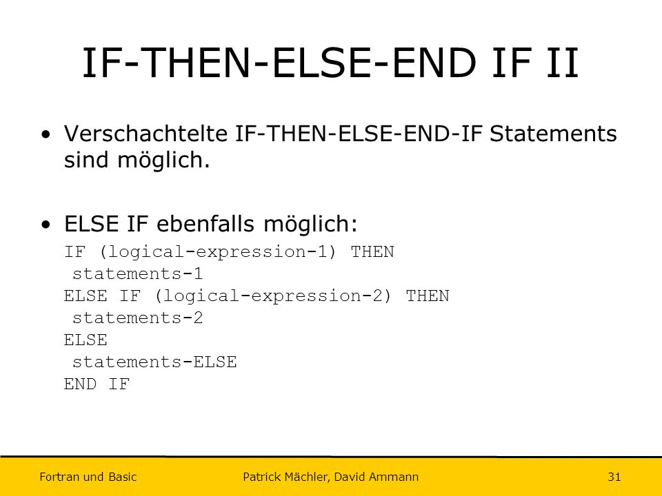 IF-THEN-ELSE-END IF II
