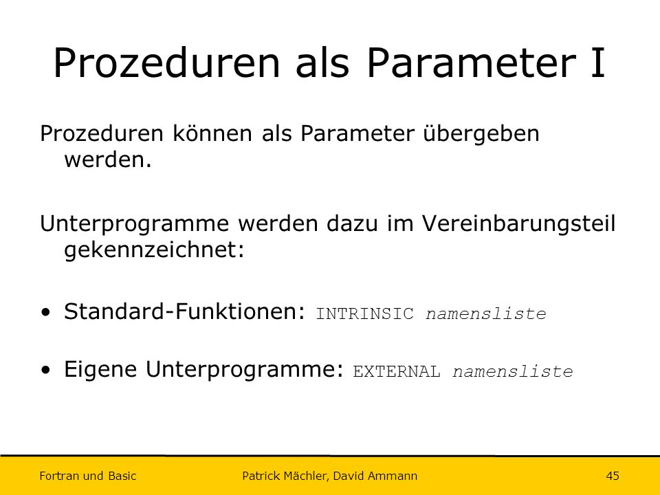 Prozeduren als Parameter I