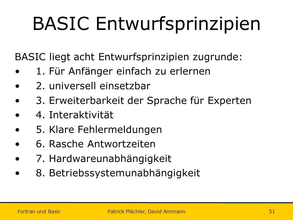BASIC Entwurfsprinzipien