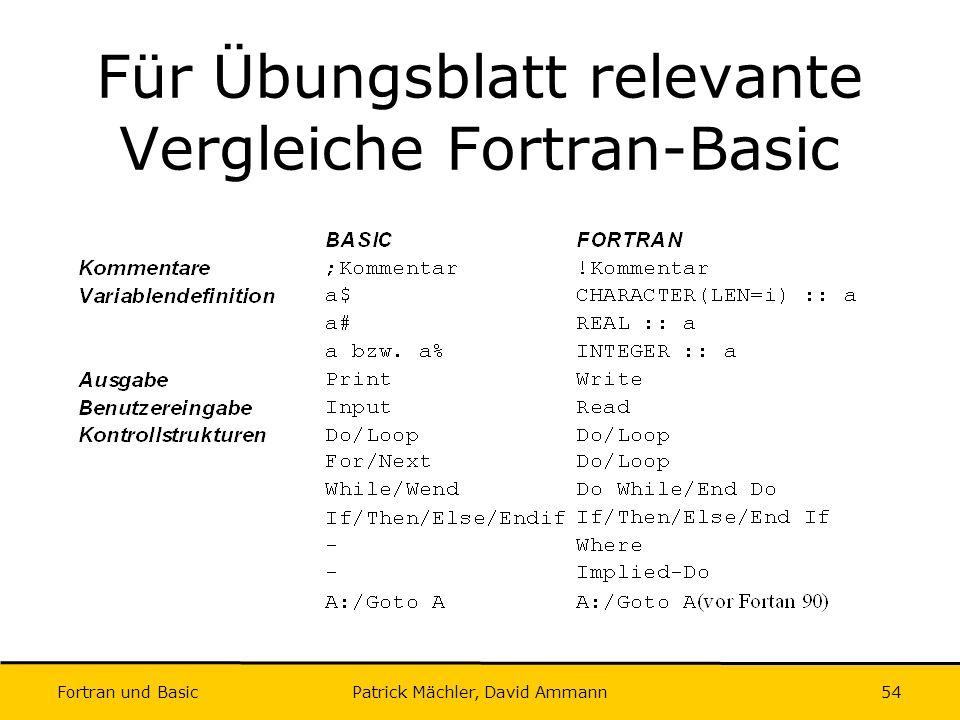 Für Übungsblatt relevante Vergleiche Fortran-Basic