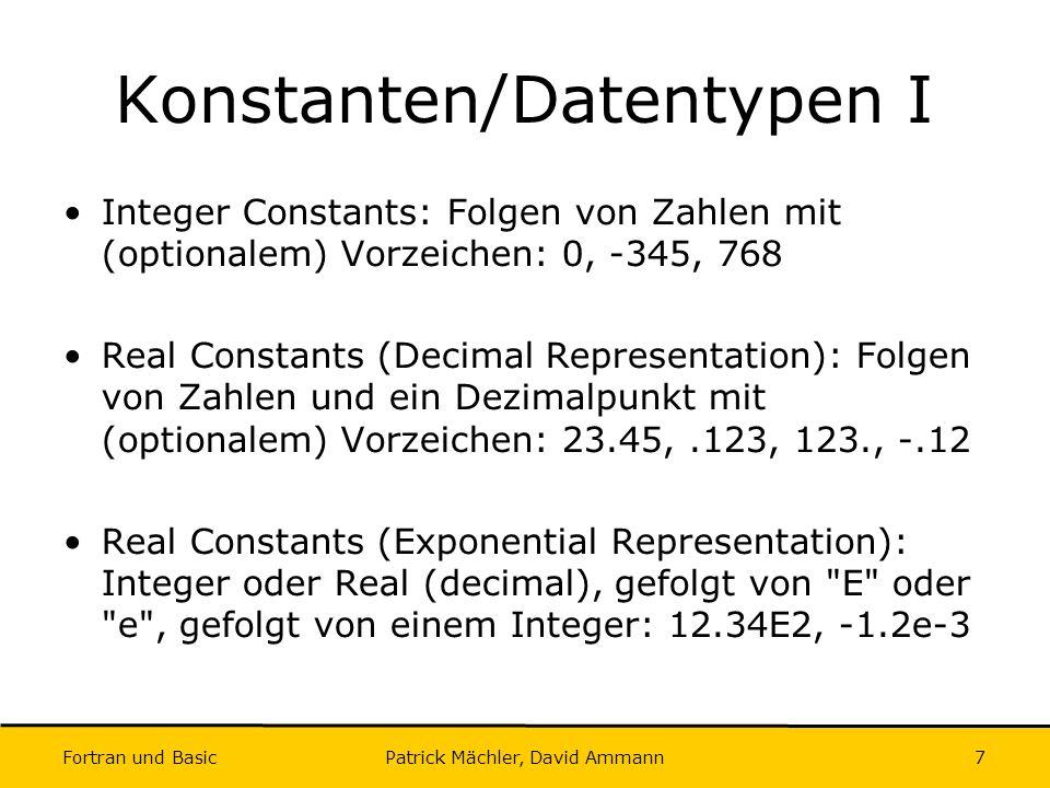 Konstanten/Datentypen I