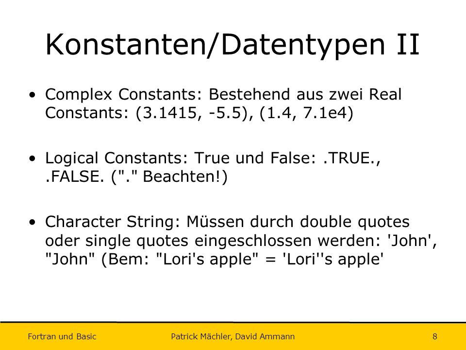 Konstanten/Datentypen II