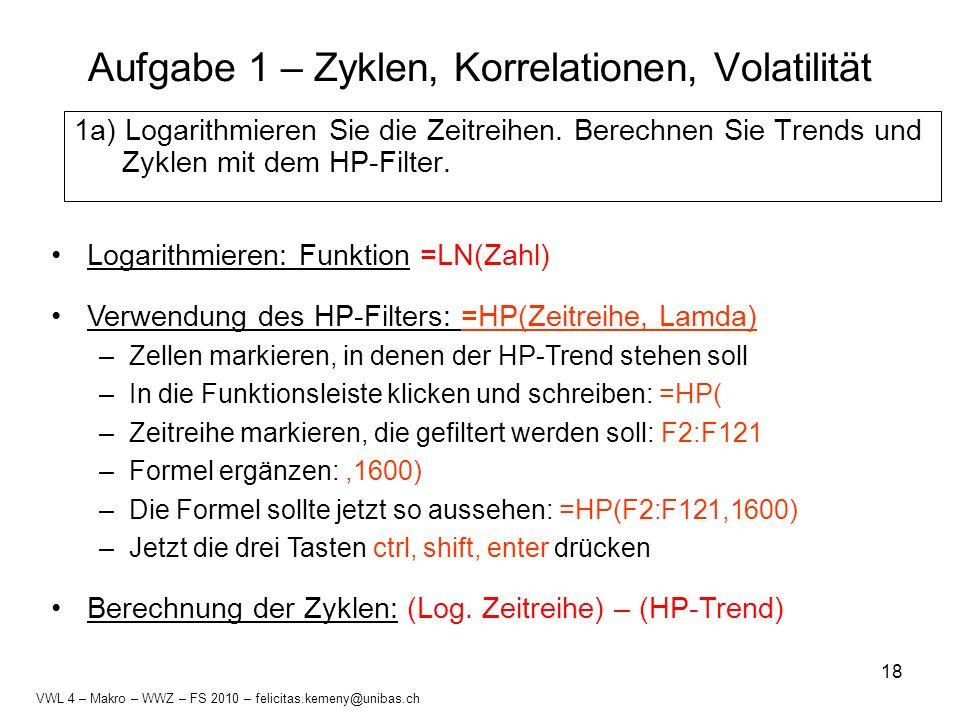 Aufgabe 1 – Zyklen, Korrelationen, Volatilität
