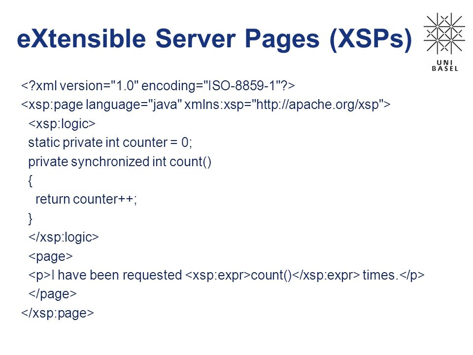 eXtensible Server Pages (XSPs)