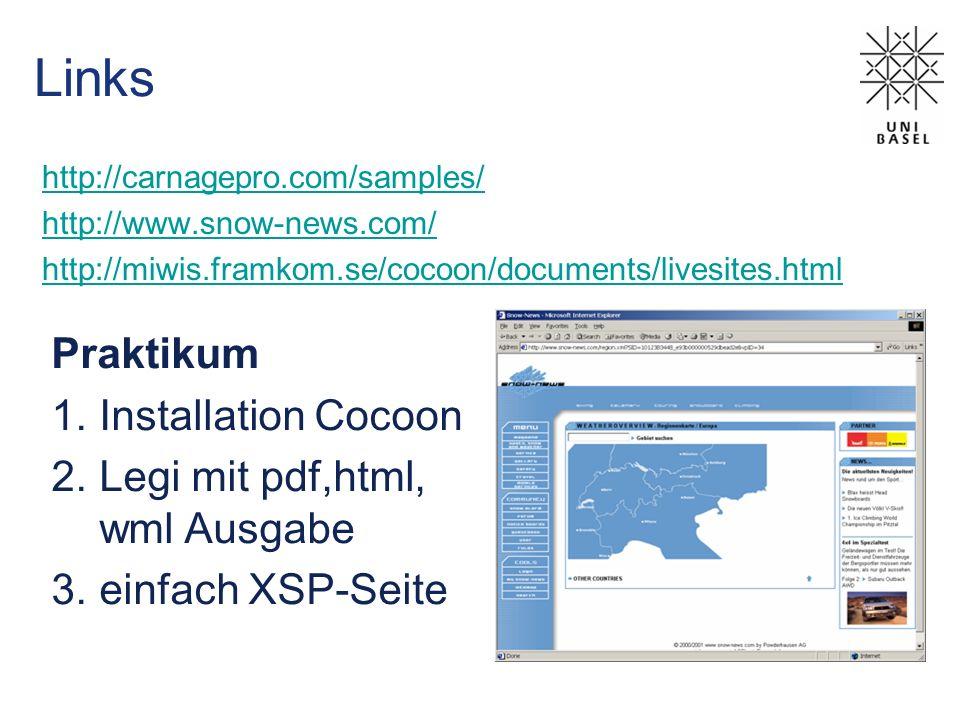 Links Praktikum Installation Cocoon Legi mit pdf,html, wml Ausgabe