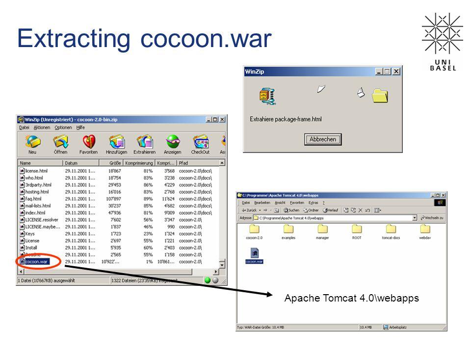 Extracting cocoon.war Apache Tomcat 4.0\webapps